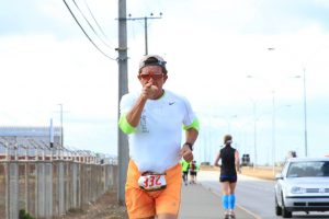 At 22km - that's me in the blue calf sleeves
